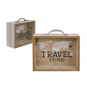 Holz Spardose Travel Fund