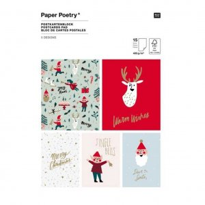 Paper Poetry Postkartenblock Jolly Christmas
