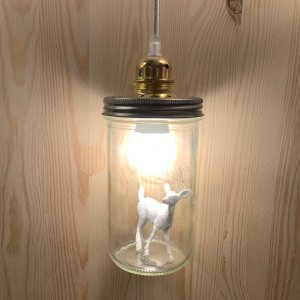 Lampe La Tete dans le bocal Reh weiss/Kabel weiss/silber